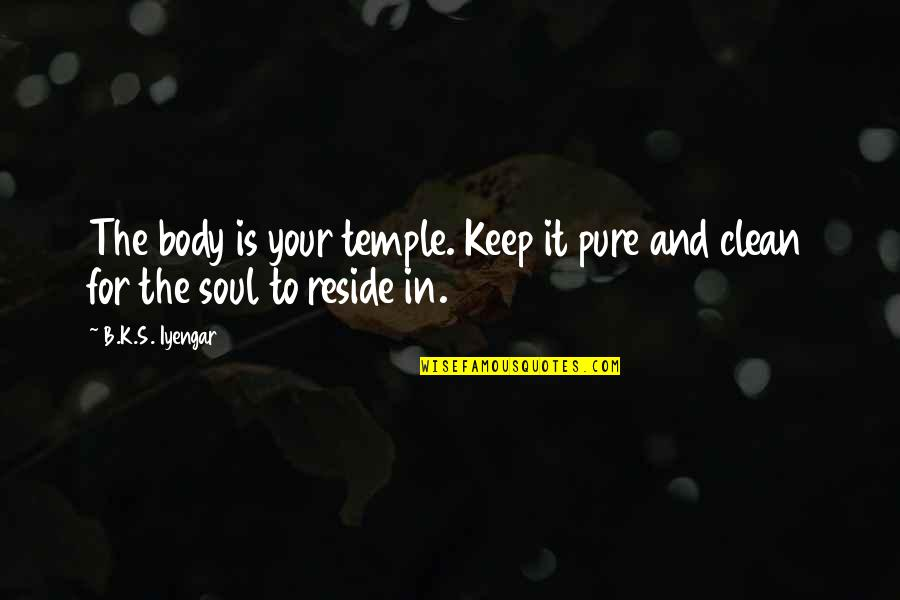 Body Is A Temple Quotes By B.K.S. Iyengar: The body is your temple. Keep it pure