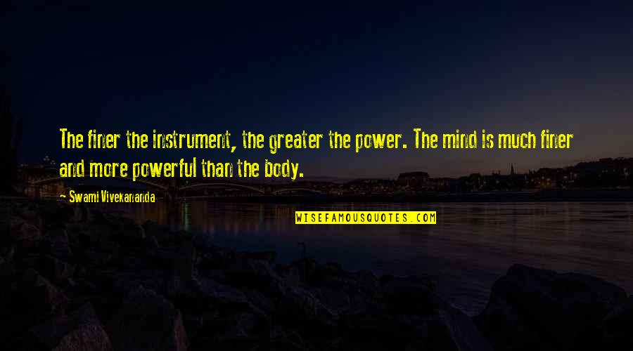 Body Power Quotes By Swami Vivekananda: The finer the instrument, the greater the power.