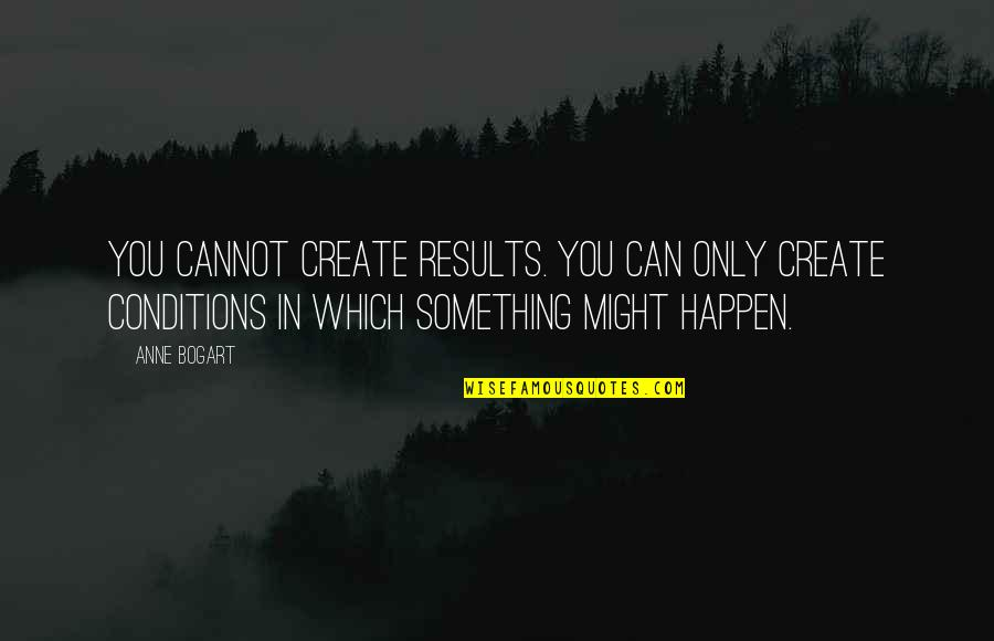 Bogart Quotes By Anne Bogart: You cannot create results. You can only create