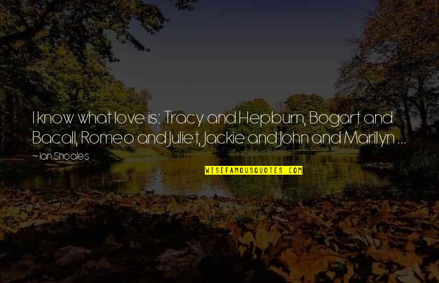 Bogart Quotes By Ian Shoales: I know what love is: Tracy and Hepburn,