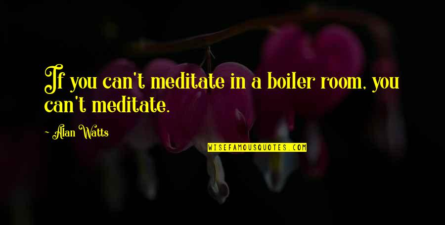 Boiler Rooms Quotes By Alan Watts: If you can't meditate in a boiler room,