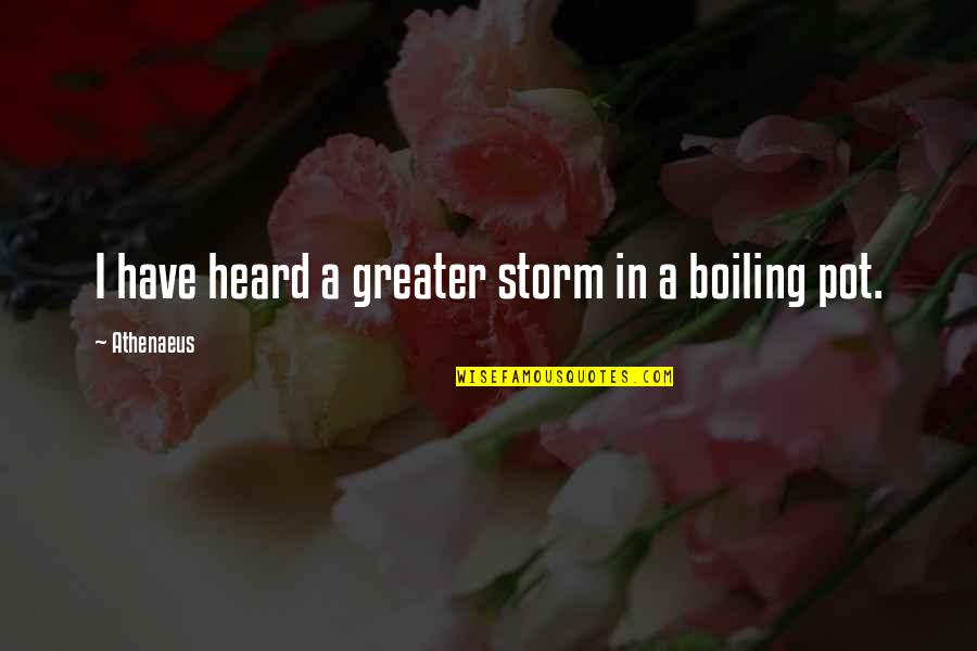 Boiling Quotes By Athenaeus: I have heard a greater storm in a