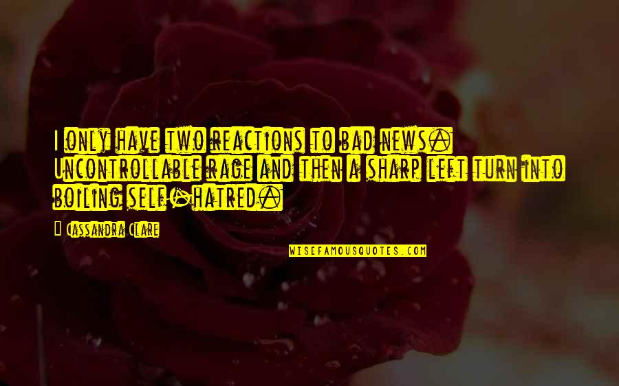 Boiling Quotes By Cassandra Clare: I only have two reactions to bad news.
