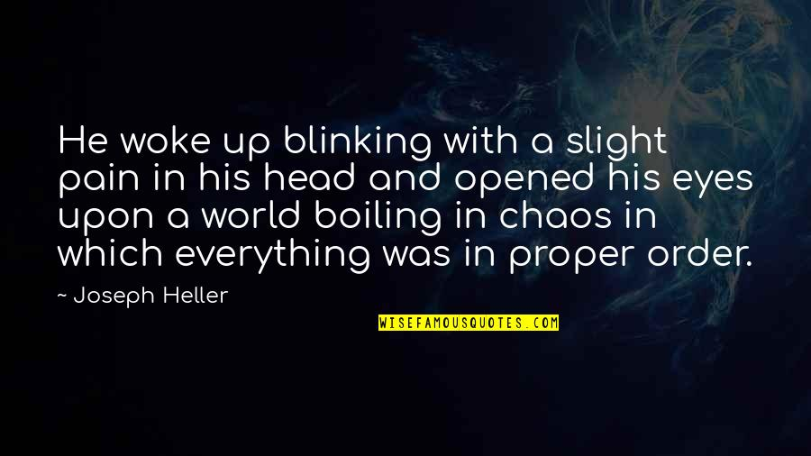 Boiling Quotes By Joseph Heller: He woke up blinking with a slight pain