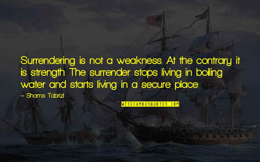Boiling Quotes By Shams Tabrizi: Surrendering is not a weakness. At the contrary