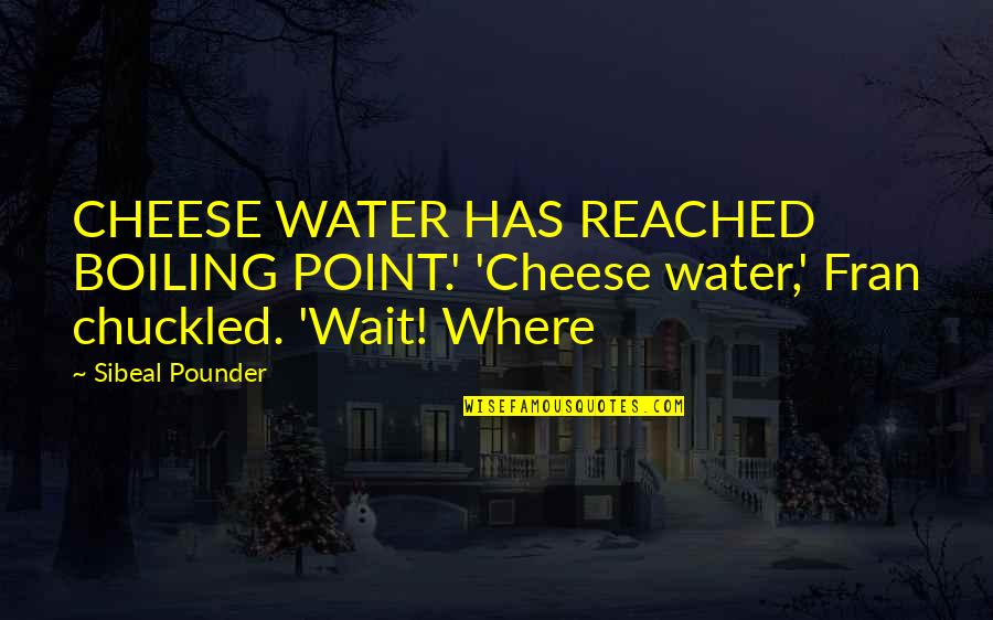 Boiling Quotes By Sibeal Pounder: CHEESE WATER HAS REACHED BOILING POINT.' 'Cheese water,'