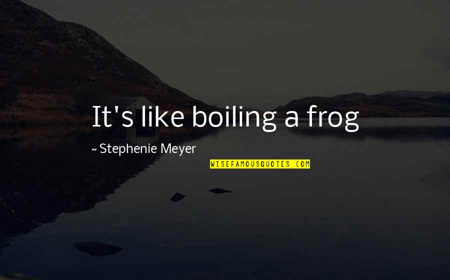Boiling Quotes By Stephenie Meyer: It's like boiling a frog