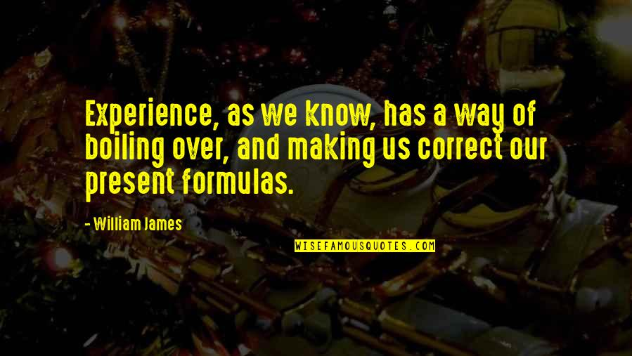 Boiling Quotes By William James: Experience, as we know, has a way of