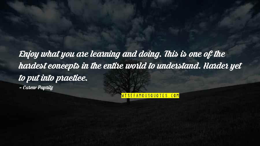 Book Of Life Quotes By Carew Papritz: Enjoy what you are learning and doing. This