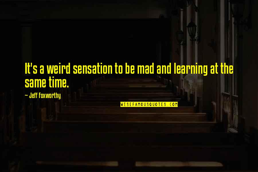 Boorman Quotes By Jeff Foxworthy: It's a weird sensation to be mad and