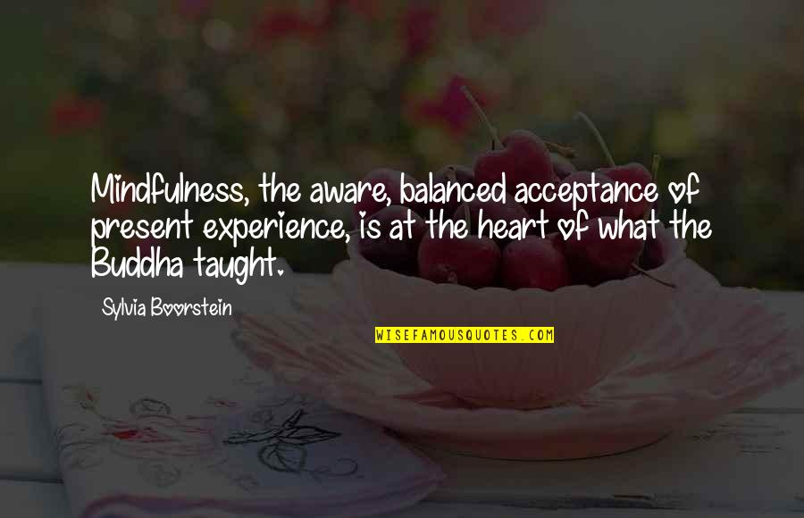 Boorstein Quotes By Sylvia Boorstein: Mindfulness, the aware, balanced acceptance of present experience,