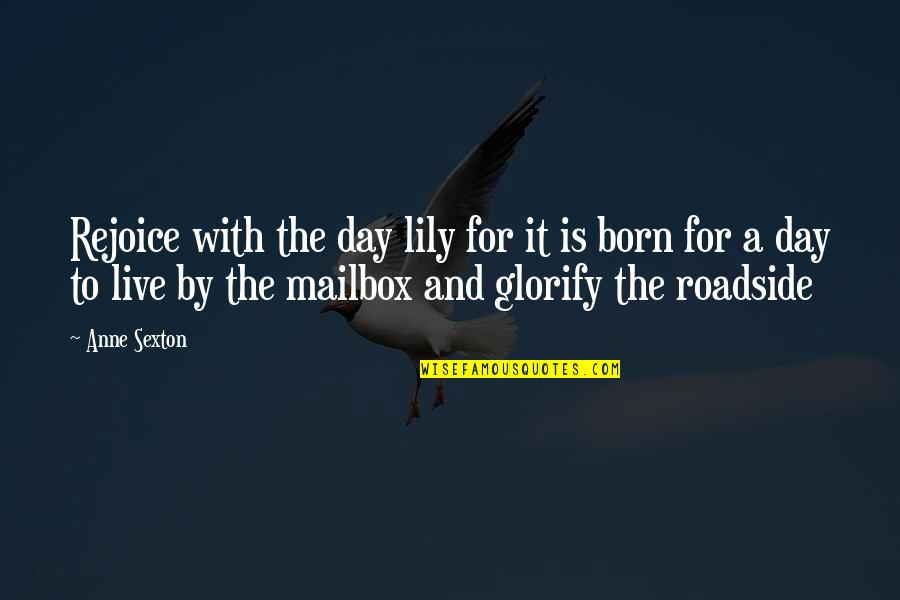 Born To Live Quotes By Anne Sexton: Rejoice with the day lily for it is