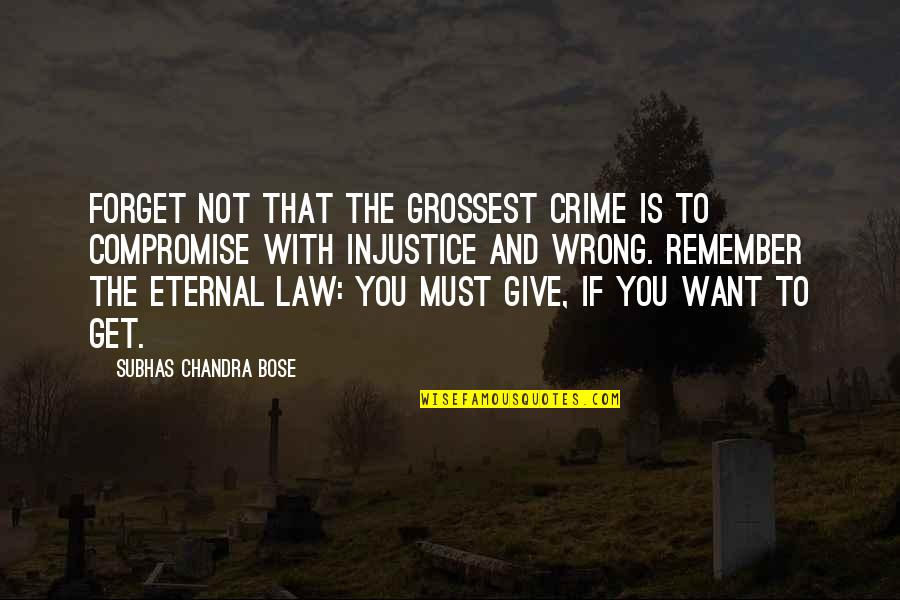 Bose Quotes By Subhas Chandra Bose: Forget not that the grossest crime is to