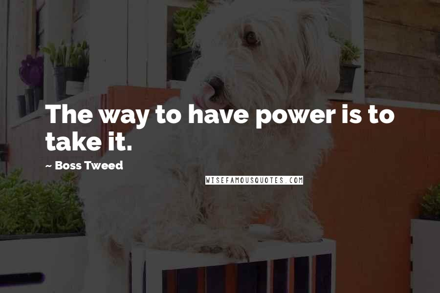 Boss Tweed quotes: The way to have power is to take it.