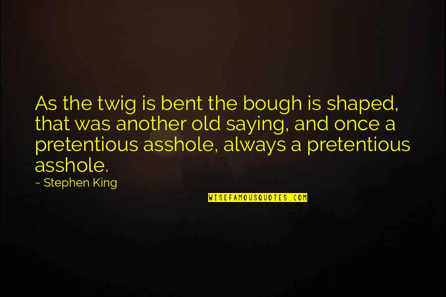 Bough Quotes By Stephen King: As the twig is bent the bough is
