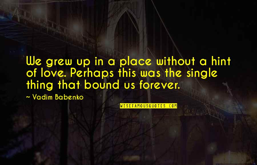Bound In Love Quotes By Vadim Babenko: We grew up in a place without a