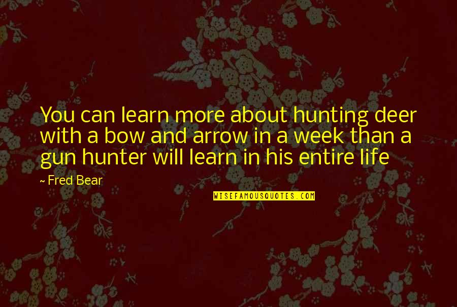 Bow And Arrow Quotes By Fred Bear: You can learn more about hunting deer with