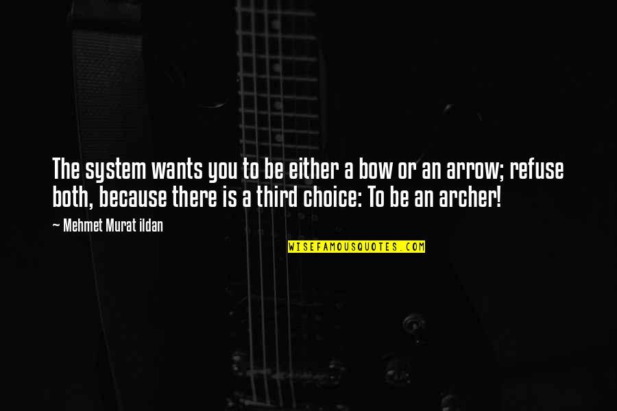 Bow And Arrow Quotes By Mehmet Murat Ildan: The system wants you to be either a
