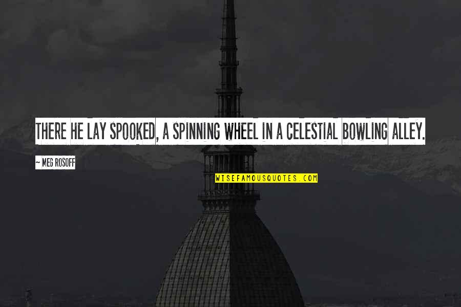 Bowling Quotes By Meg Rosoff: There he lay spooked, a spinning wheel in
