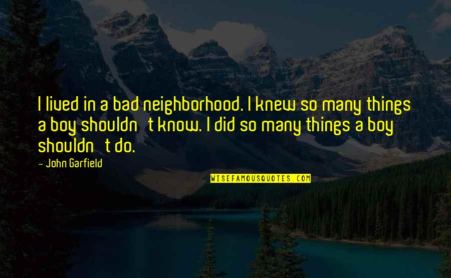 Boy If You Only Knew Quotes By John Garfield: I lived in a bad neighborhood. I knew