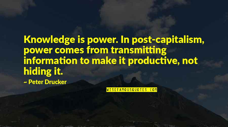 Brad Gast Quotes By Peter Drucker: Knowledge is power. In post-capitalism, power comes from