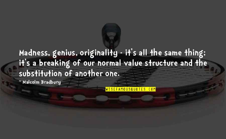 Bradbury's Quotes By Malcolm Bradbury: Madness, genius, originality - it's all the same