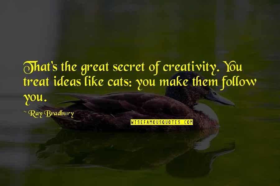 Bradbury's Quotes By Ray Bradbury: That's the great secret of creativity. You treat