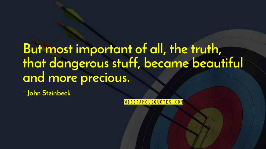 Brain Teaser Quotes By John Steinbeck: But most important of all, the truth, that