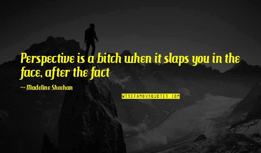 Brainjob Quotes By Madeline Sheehan: Perspective is a bitch when it slaps you