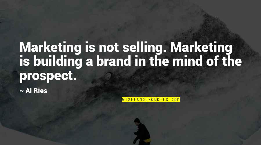 Brand Marketing Quotes By Al Ries: Marketing is not selling. Marketing is building a