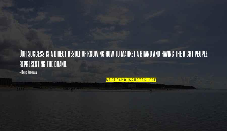 Brand Marketing Quotes By Greg Norman: Our success is a direct result of knowing