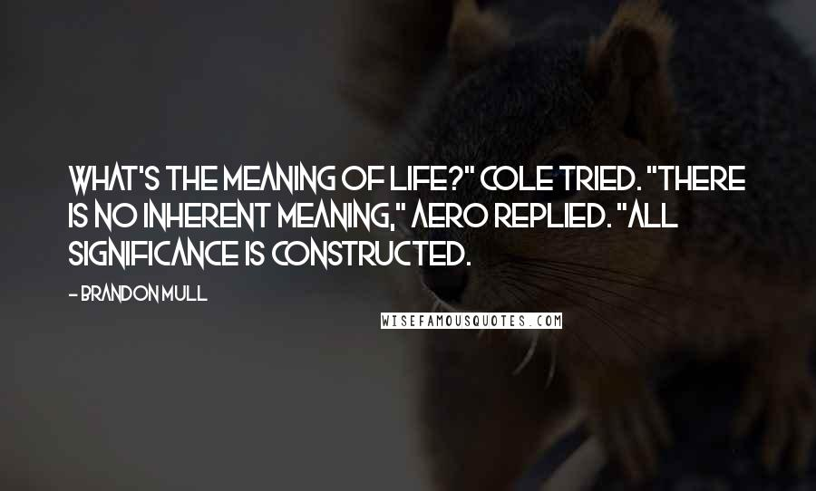 "Brandon Mull quotes: What's the meaning of life?"" Cole tried. ""There is no inherent meaning,"" Aero replied. ""All significance is constructed."