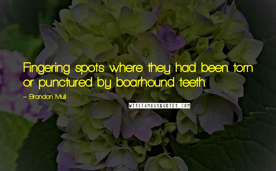 Brandon Mull quotes: Fingering spots where they had been torn or punctured by boarhound teeth.