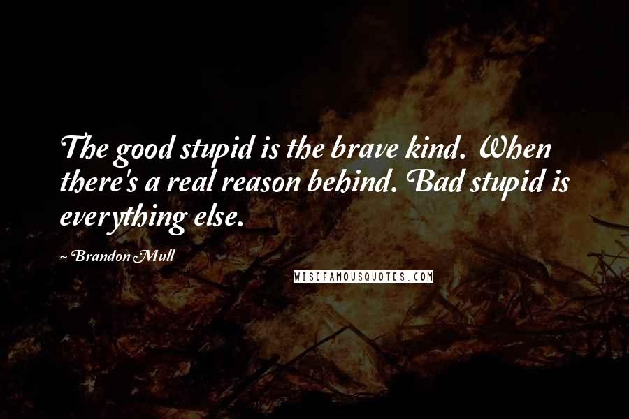 Brandon Mull quotes: The good stupid is the brave kind. When there's a real reason behind. Bad stupid is everything else.