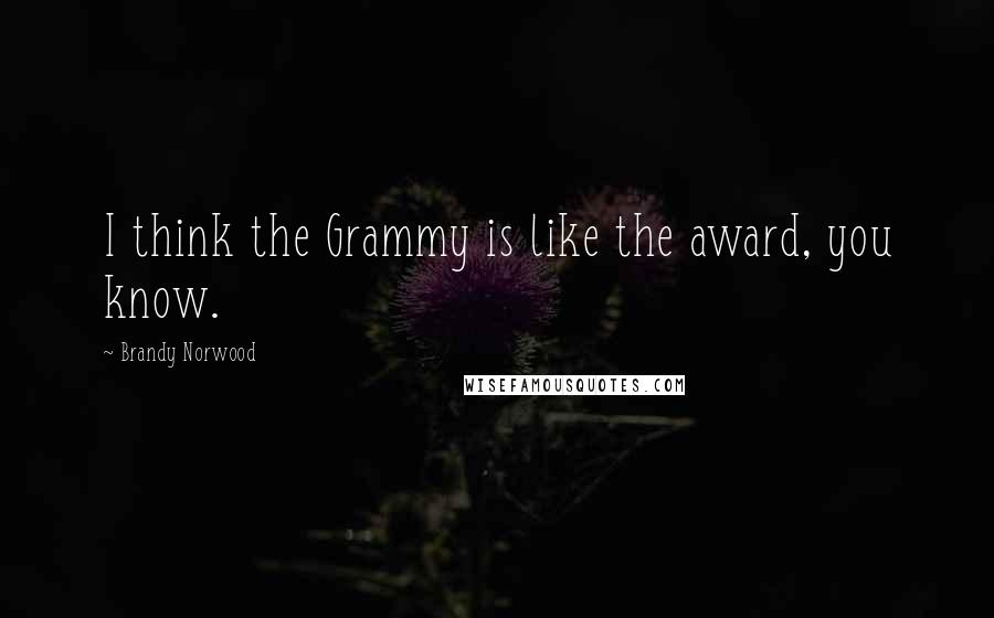 Brandy Norwood quotes: I think the Grammy is like the award, you know.