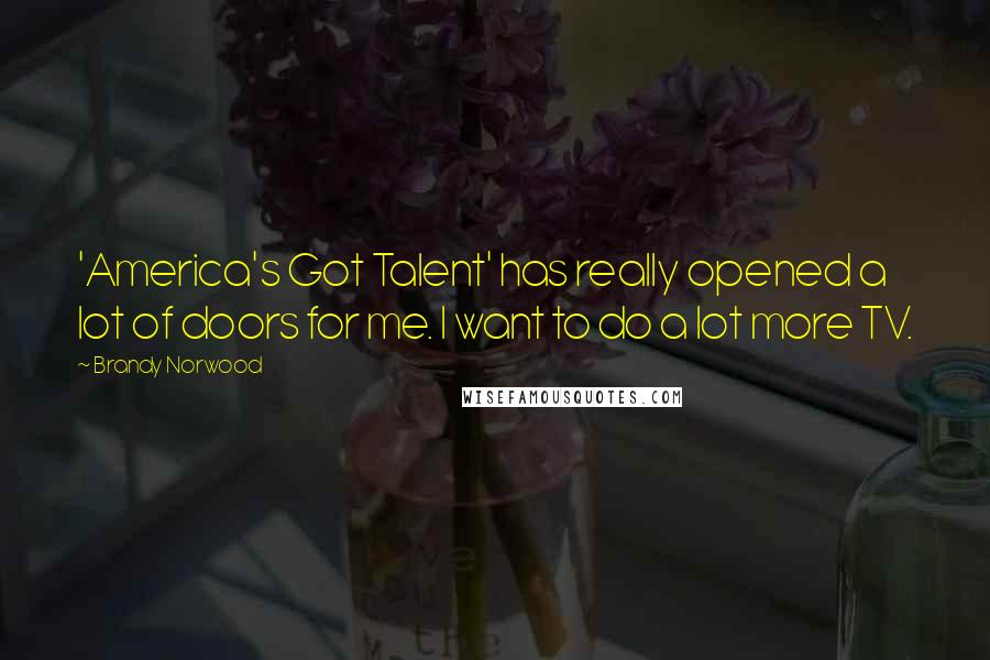 Brandy Norwood quotes: 'America's Got Talent' has really opened a lot of doors for me. I want to do a lot more TV.