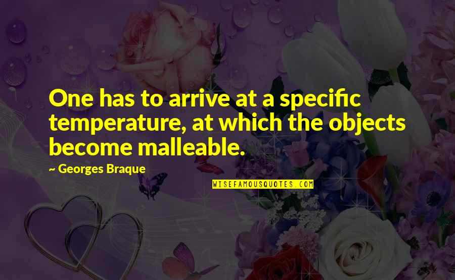Braque Quotes By Georges Braque: One has to arrive at a specific temperature,