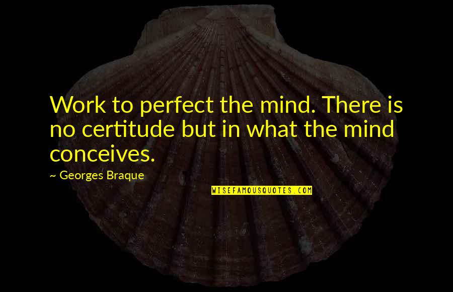 Braque Quotes By Georges Braque: Work to perfect the mind. There is no