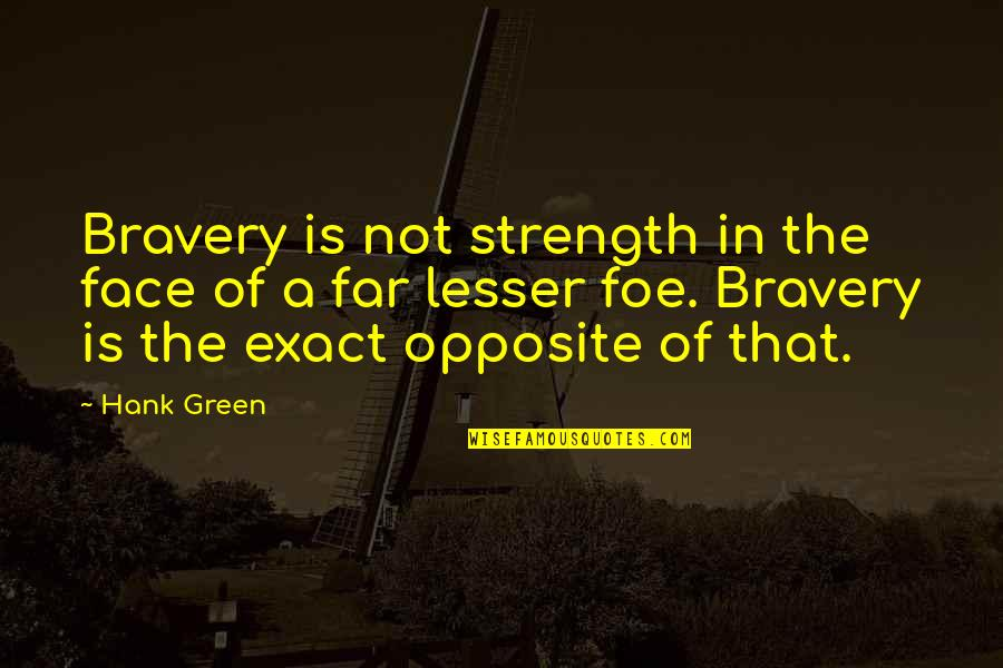 Bravery Quotes By Hank Green: Bravery is not strength in the face of