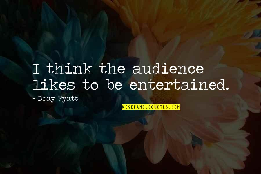 Bray Wyatt Quotes By Bray Wyatt: I think the audience likes to be entertained.