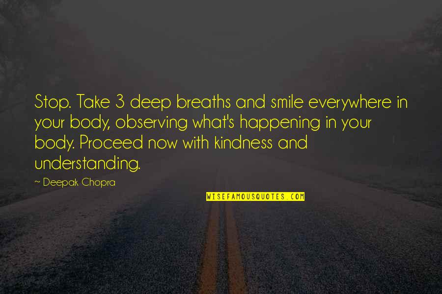 Breaths You Take Quotes By Deepak Chopra: Stop. Take 3 deep breaths and smile everywhere
