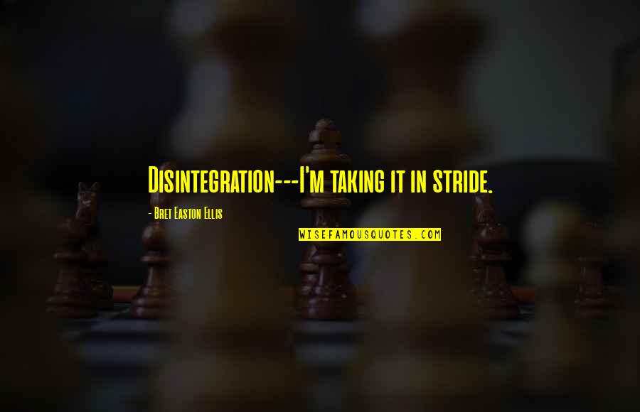 Bret Easton Ellis Quotes By Bret Easton Ellis: Disintegration---I'm taking it in stride.