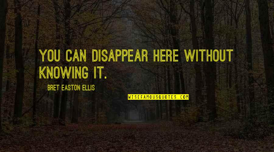 Bret Easton Ellis Quotes By Bret Easton Ellis: You can disappear here without knowing it.