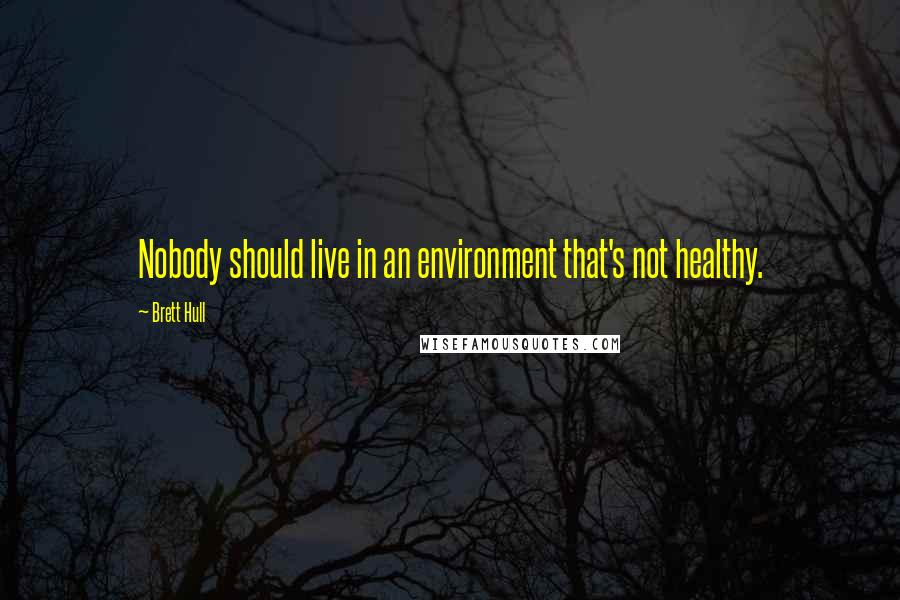 Brett Hull quotes: Nobody should live in an environment that's not healthy.