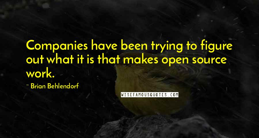 Brian Behlendorf quotes: Companies have been trying to figure out what it is that makes open source work.