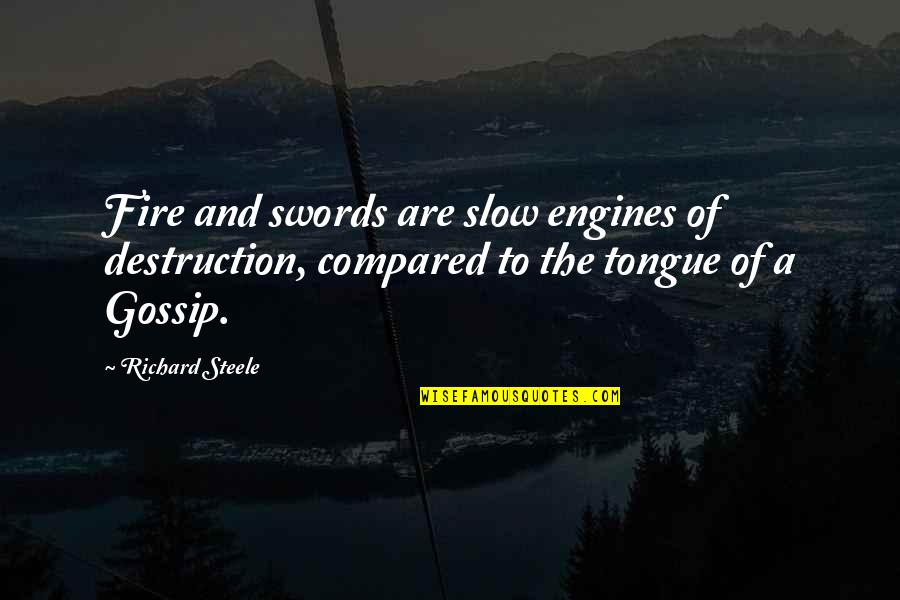 Brian Braddock Quotes By Richard Steele: Fire and swords are slow engines of destruction,