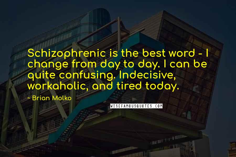 Brian Molko quotes: Schizophrenic is the best word - I change from day to day. I can be quite confusing. Indecisive, workaholic, and tired today.
