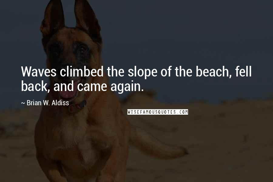 Brian W. Aldiss quotes: Waves climbed the slope of the beach, fell back, and came again.