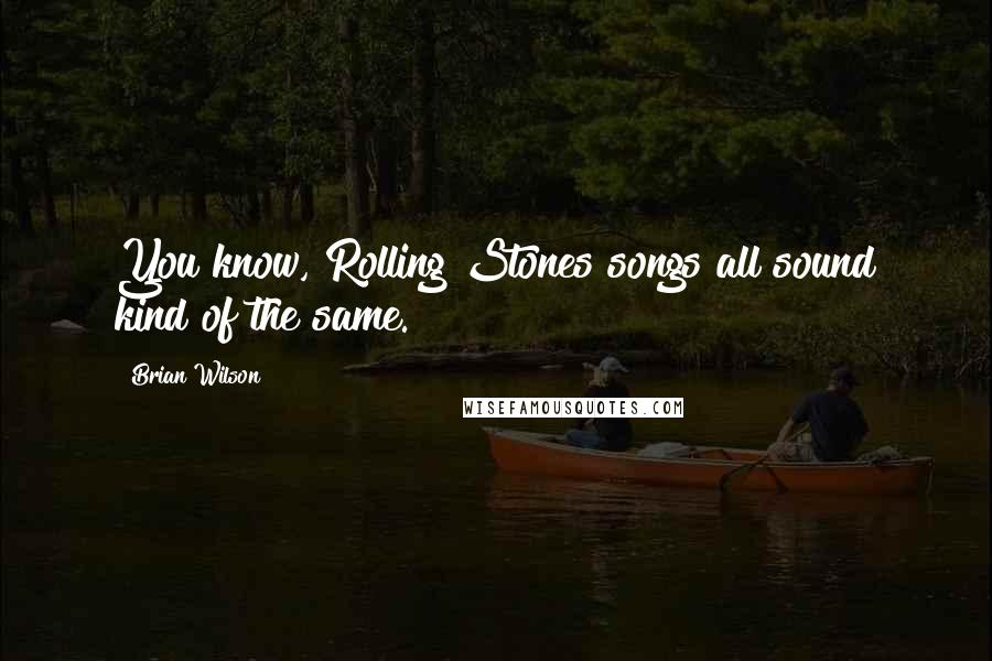 Brian Wilson quotes: You know, Rolling Stones songs all sound kind of the same.