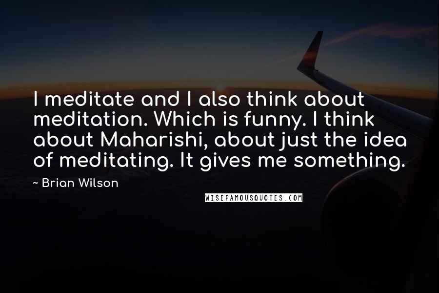 Brian Wilson quotes: I meditate and I also think about meditation. Which is funny. I think about Maharishi, about just the idea of meditating. It gives me something.